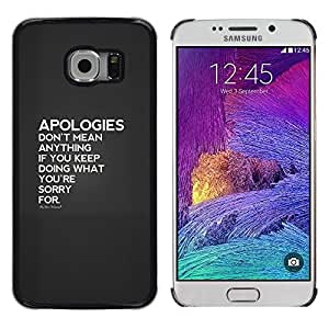 Disculpas Pareja Hurt Heartbreak Amor- Metal de aluminio y de plástico duro Caja del teléfono - Negro - Samsung Galaxy S6 EDGE (NOT S6)