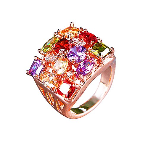 Swarovski Elements Crystal Rose Gold Plated Square Bridal Jewelry Set for Women (#7, Ring)