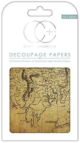 Craft Consortium Premium Decoupage Papers - World Map 2: Amazon.co ...