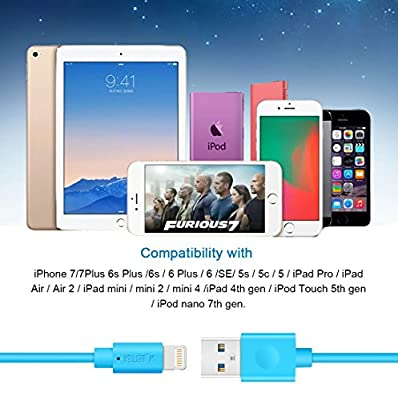 iPhone Charger, M-Better Upgraded 3Pcs 6Ft Lightning to USB Charging Cable, Syncing and Charging Cord for iPhone 7 7plus 6s Plus 6 SE 5s 5c 5 iPad Air mini 4th Gen iPod nano /touch