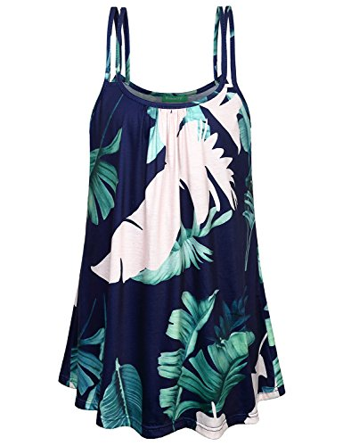 Printed Tank Tops for Women,Kimmery Girls Basic Camisoles Swing Pleats Scoop Neck Flare Sleeveless Shirts Great Bounce Lightweight Breathable Attractive Flattering Holiday Strappy Tunic Blouse Blue XL (Pleat Skirt Neck Scoop)