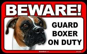 Amazon.com : BEWARE Guard Dog on Duty Sign - Boxer : Yard