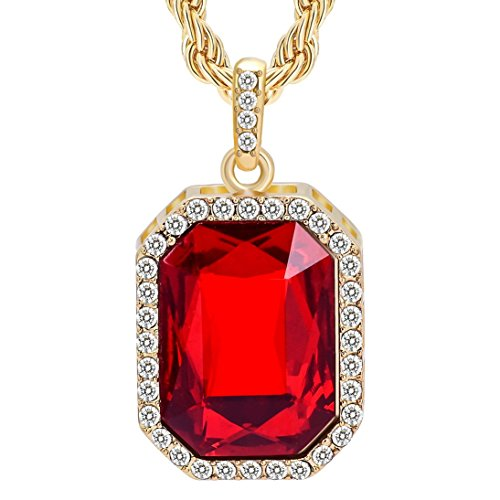 Cuccu-14K-New-Gold-Plated-Mens-Iced-Out-Ruby-Octagon-Hip-Hop-Pendant-with-3mm-24-Rope-Chain