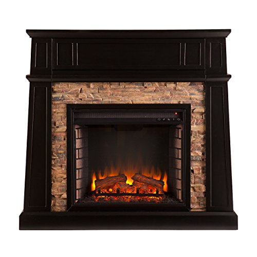 Media Electric Fireplace - Remote Control Space Heater - Faux Stone Front