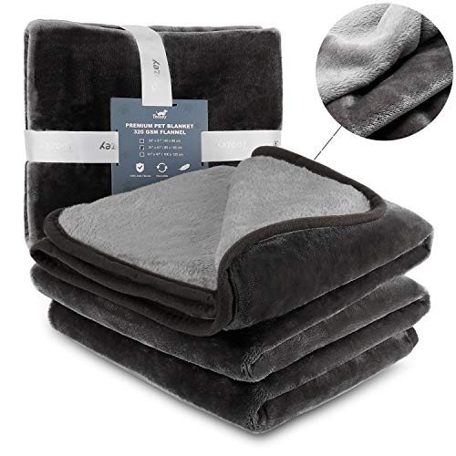 (Toozey Premium Flannel Dog Blanket, 320GSM Super Soft Reversible Plush Pet Throw Blanket, Quality Plush Fluffy Blanket for Dogs and Cats -)