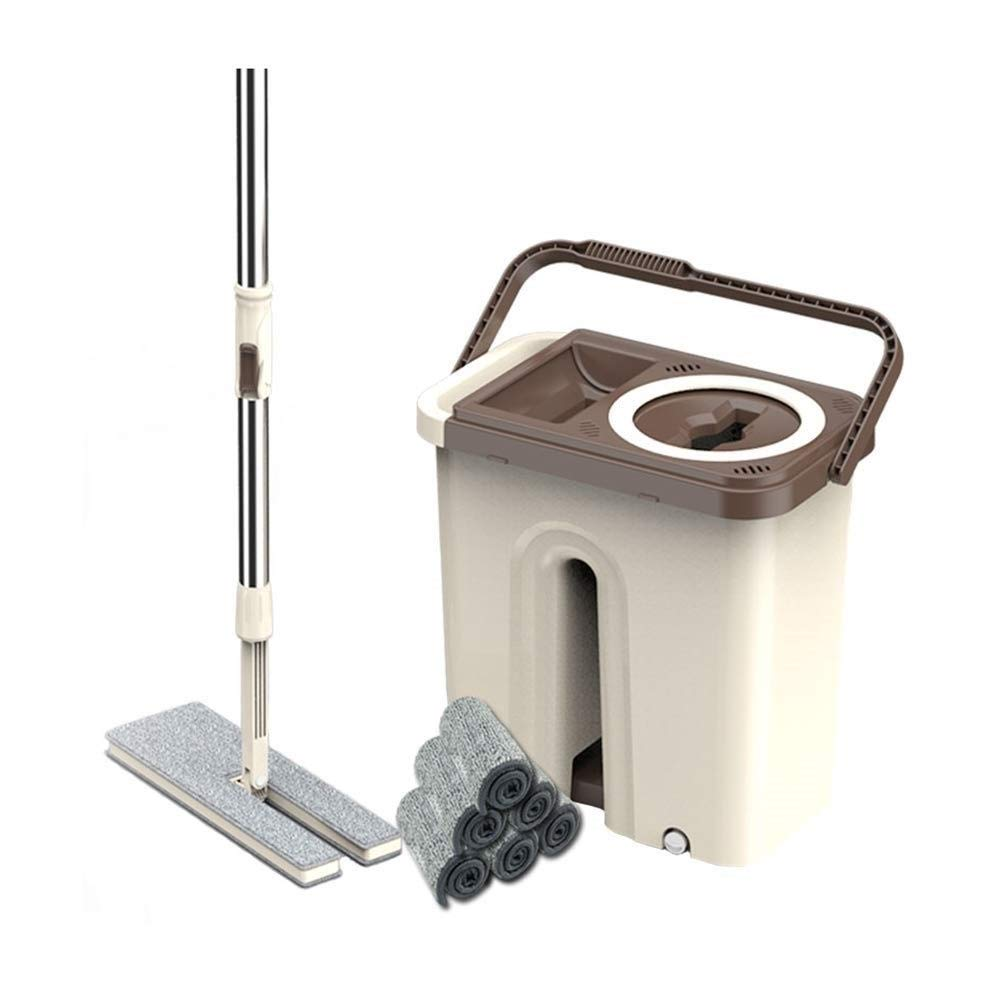 ROLLXXB スクープフラットモップ、1バケツ、乾式床掃除用ハンズフリー、再使用可能モップパッド、ステンレス鋼製取っ手 B07SKVP859