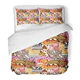 SanChic Duvet Cover Set Arab with Patchwork Eastern Mix of Designs Watercolor Folk Arabian Arabic Decorative Bedding Set with 2 Pillow Shams Full/Queen Size