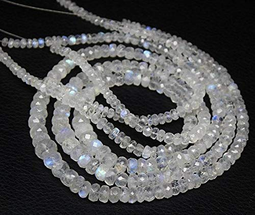 Beads Bazar Natural Beautiful jewellery Rainbow moonstone Faceted Gemstone Micro Rondelle Loose Craft Beads Starnd 16