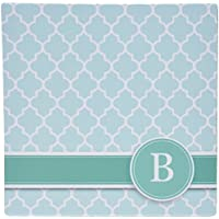 3dRose Personalized Letter B Aqua Blue Quatrefoil Pattern Teal Turquoise Mint Monogrammed Personal Initial Mouse Pad (mp_154542_1)