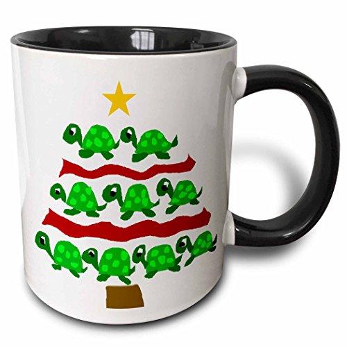 3dRose 222130_4 Funny Artsy Green Turtles Christmas Tree Mug, 11 oz, Black 4 Christmas Tree Mugs