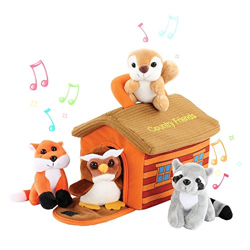 (KLEEGER Cute Plush Woodland Animals Toy Set For Kids With Carrier | Adorable & Fluffy Stuffed Owl, Raccoon, Fox & Squirrel Toys With Sounds (Country Friends))