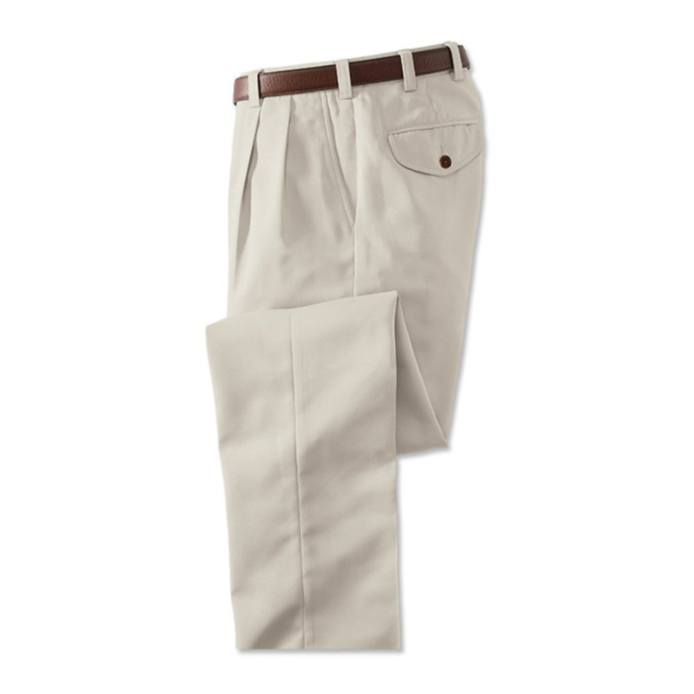 Orvis Microfiber Travel Pants with Hidden Pockets - Pleated Front 40 Stone