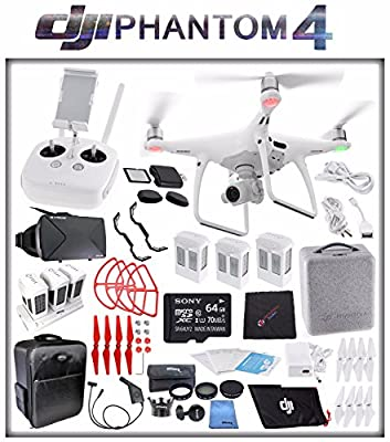 DJI Phantom 4 Quadcopter + Sony 64GB microSDXC Card + DJI Intelligent Flight Battery (3X TOTAL) + Card Reader + Cloth + Backpack + Multi Charger Hub + Adapter + 2 Pairs Propeller Blades (Blue) Bundle