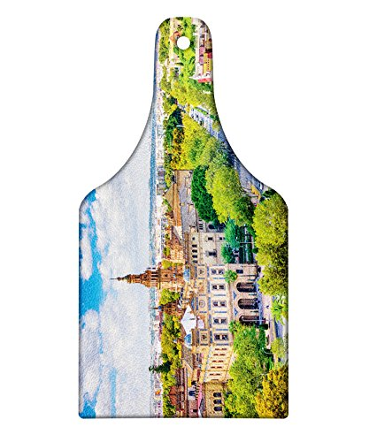 Lunarable Wanderlust Cutting Board, Seville Spain Cityscape Towards Plaza De Espana Scenery Monument Daytime, Decorative Tempered Glass Cutting and Serving Board, Wine Bottle Shape, Green Cream White by Lunarable