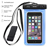 Waterproof Case, OEAGO Universal Waterproof Pouch Bag Case with Armband + Lanyard for iPhone SE/6/6+/6S/6S+, Samsung Galaxy S7/S7 Edge/Note 5, LG G5, HTC M10, Lumia 950, Nexus 6P/5X and More - Blue