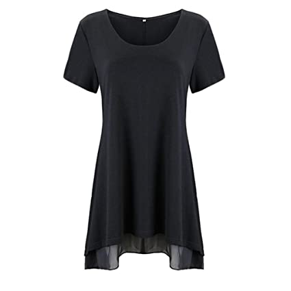 DondPO Womens Basic Tunic Top Plus Size Short Sleeve V-Neck Solid Lace Shirt Casual Blouse Loose Tops T-Shirt at Amazon Womens Clothing store: