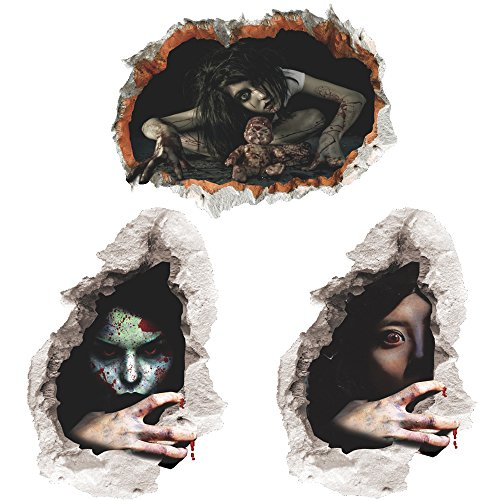 3 PCS 3D Halloween Horror Wall Sticker Scary Bloody Female Ghost Spirit Scratching the Wall Cracked Wall Decor Removable Home Decoration Art Mural Wallpaper