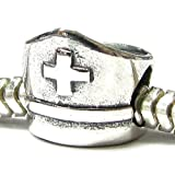 ''Nurse Cap Hat'' written Job Occupation Story Bead Charm Bead Fits EvesErose, Pandora, & Similar Charm Bracelets