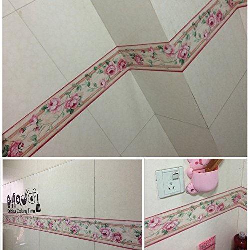 SimpleLife4U Luxury Peony Removable Wallpaper Border Self Adhesive Stciker Kitchen Bathroom Wall Decor by SimpleLife4U (Image #1)