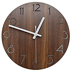Jomparis 12 Vintage Arabic Numeral Design Rustic Country Tuscan Style Wooden Decorative Round Wall Clock