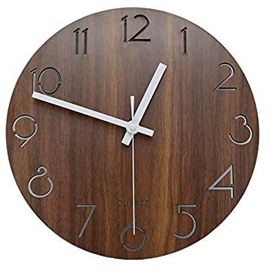 "jomparis 12"" Vintage Arabic Numeral Design Rustic Country Tuscan Style Wooden Decorative Round Wall Clock - Easy to read:Wooden MDF (dark brown) background with white metal pointers. Non-ticking wall clock:Super-quality quartz sweep movement guarantees accurate time and absolutely silent environment. Attractive design:Unique rustic country design with cut-out numbers.This clock no frame nor glass cover. - wall-clocks, living-room-decor, living-room - 51LNp632c2L. SS400  -"