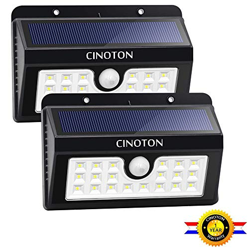 CINOTON Outdoor Solar Wall Lights Ultra Bright 20 LED Security Lighting Motion Sensor Dusk-to-Dawn Photocell Wireless Waterproof for Garden,Yard,Patio, Driveway,Stairs. (20 LED, 2 Pack)