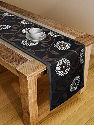 S9home by Seasons 6 Seater Premium Quality Floral Black & Brown Table Runner 72x12 inches