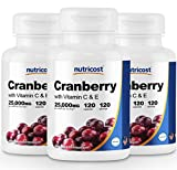 Nutricost Cranberry Extract (25,000mg) (120 Caps) (3 Bottles)