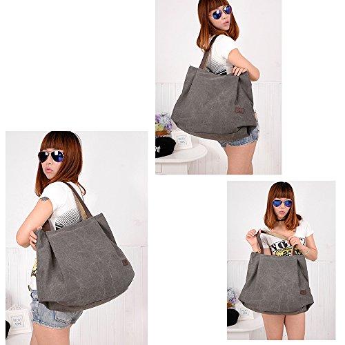 Bolsa Chicas Lienzo Bolsa Mujeres Vintage mano Shopping Tote escuela Viajes Y Simple Para Para Bolso Bolsa Trabajo Gris de Shopper La hombro Hobo de B6Bn1wrCq
