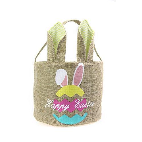Easter Basket for Kids Bunny Bag for Easter Hunt,100% Ear Stand Up(Egg-Yellow) (Easter Bunny Walmart)
