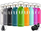 Super Sparrow Stainless Steel Vacuum Insulated Water Bottle, Double Wall Design,Standard Mouth - 500ml & 750ml - BPA Free - with 2 Exchangeable Caps + Bottle Pouch (Apple Green, 750ml-25oz)