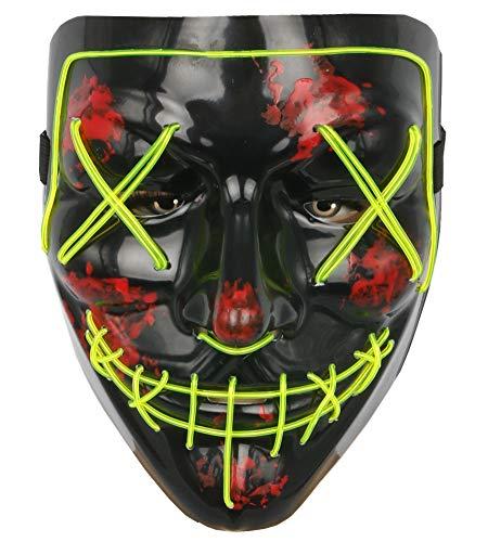 Topcosplay Mens Costume Masks Led EL Wire Purge Mask Halloween Festival Cosplay Light Up Mask
