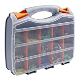 Small Parts Storage Organizer Tool Box Portable Heavy Duty Double Sided with 30 Removable and Adjustable Compartments for Hardware Arts Crafts Tools S231 (12.2''x10.2'')