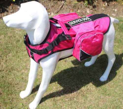 FidgetKute Service Dog Harness Vest with Removable Saddle Bags Backpack Patches 5 colors Hot Pink S Fits Girth 16  20