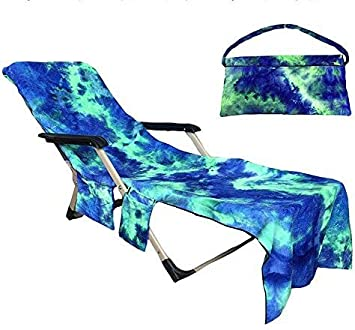 Microfiber Beach Chair Cover Chaise Lounge Towel Quick Dry Storage Pockets Sun