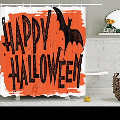 HomeCOO Design Shower Curtains Happy Halloween Text Banner Trick Treat 72 By 72 Inches 100% Polyester Fabric Waterproof Mildew Resistant Bath Bathroom (Happy Halloween Banner Print Out)