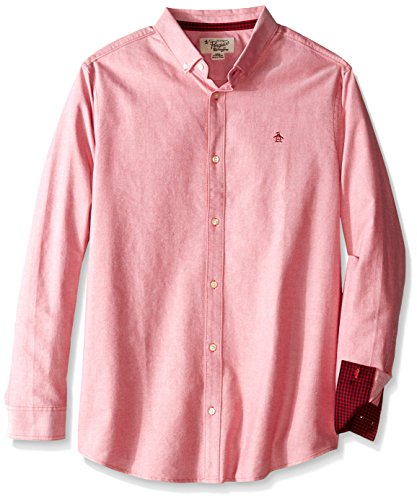 Original Penguin Men's Big-Tall Big Oxford Long-Sleeve Button-Down Shirt, Haute Red, 3X-Large