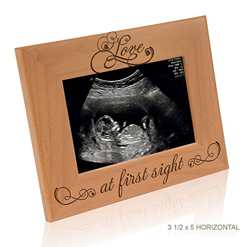(Love at First Sight Sonogram Photo Frame - Engraved Natural Solid Wood Picture Frame (3 1/2 x 5 Horizontal))