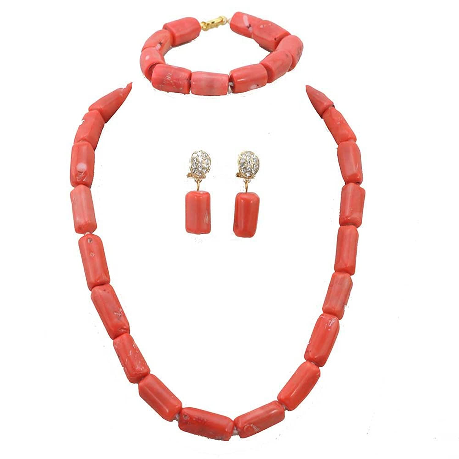 Amazon.com: Africanbeads Pink Coral Beads Nigerian Bridal Jewelry ...