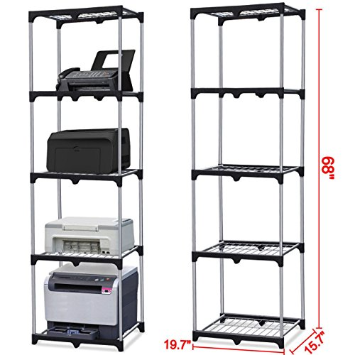 5-Tier Silver Shelf Closet Book Display Metal Frame Strong welded wire construction Narrow Shelving Organizer US Heavy Duty #424