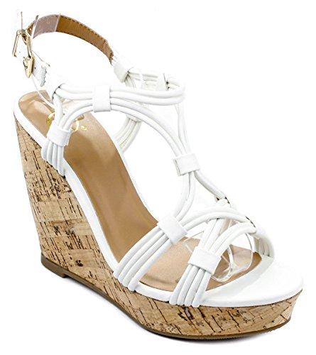 Slingback Cork Wedge Sandal (JS White Leatherette Strappy Slingback Comfort Cork Platform Wedge Gladiator Dress Sandal Shoes-8.5)
