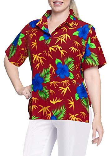 LA LEELA Hawaiian Shirt Blouses Button Down Relaxed Fit Women Short Sleeves Camp Blue