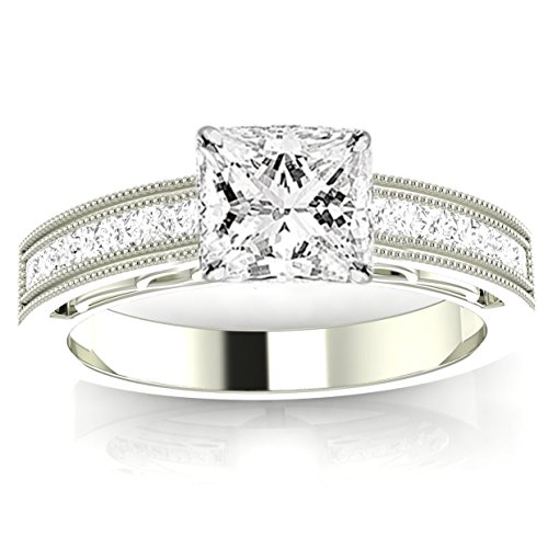 1.13 Ctw 14K White Gold Channel Set Princess Cut Engagement Ring with Milgrain w/ Princess 0.75 Carat Forever One Moissanite Center - Moissanite Princess Jewelry Set