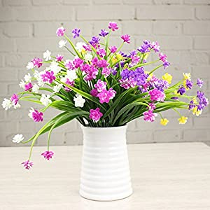 4 Pcs Artificial Fake Flowers Fake Orchid FlowersFaux Plastic Bushes Simulation Greenery Plants for Window Box Home Patio Yard Indoor Garden Light Office Wedding Decor(Vase is not included) 4