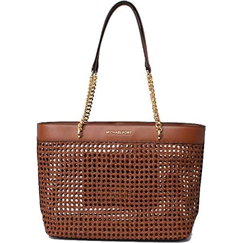 MICHAEL Michael Kors Women's Kinsley Rattan Carryall Tote Bag in Luggage, Style 35T9GYKT3I (Michael Kors Handbags In Luggage)