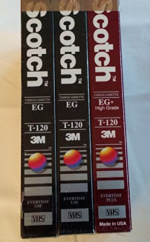 Scotch 3 VHS Value Pack with 2 High Standard and 1 Performance High Grade Videocassette T-120 by Scotch