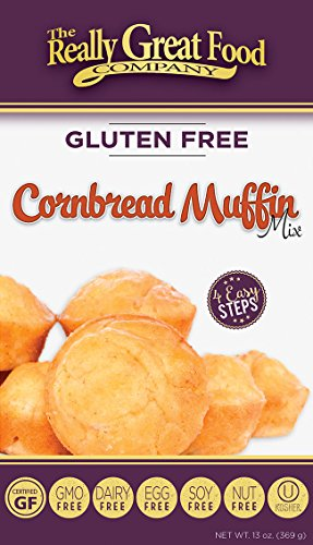 Muffin Mix Free - Really Great Food Company – Gluten Free Cornbread Muffin Mix – 13 ounce box - No Nuts, Soy, Dairy, Eggs - Vegan, Kosher, Non-GMO and Plant Based