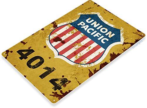 Tinworld TIN Sign C357 Union Pacific 4014 Retro Rustic Railroad Station Train Sign ()