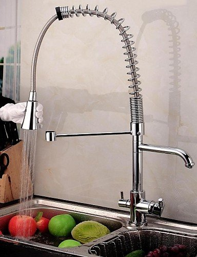 LZZNA Contemporary Double Handle Chrome Finish Pull-Out Spray 3 way Kitchen Faucets with Pure Water Flow Filter Tap