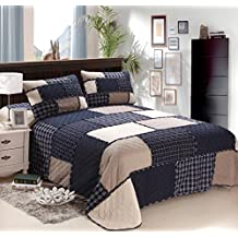 mixinni® Cotton Reversible Printed Bedding 3 Piece Bedspread Quilt Set With Two Matching Shams-(Navy Blue,King Size)